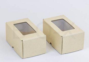 กล่องลูกฟูกพรีเมี่ยม มีหน้าต่าง 8x14x6.5 cm.