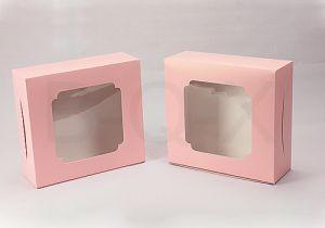 กล่องเค้ก 2 ปอนด์ หน้าต่างกว้าง สีชมพูจุด