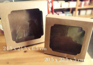 กล่องเค้กครึ่งปอนด์ คราฟ 20x20x5 cm.